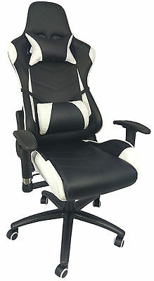 Executive Black & White Sports Racing Computer Office Gaming Reclining Chair 304