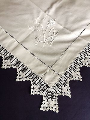 Superb Edwardian Vintage White Cotton Tablecloth Crocheted Edging & Embroidery