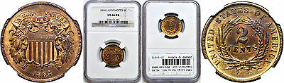 1864 Large Motto Two Cent Piece NGC MS-66 RB