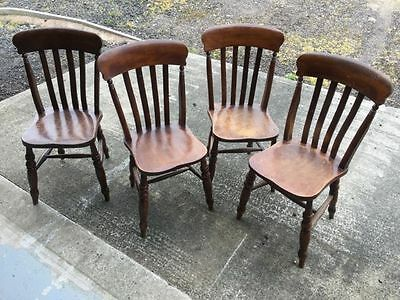 Set Of Four Antique Slat Back Kitchen Dining Chairs
