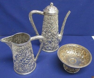 Outstanding Sterling Repousse' Coffee Set ca 1880-1900, Black, Starr & Frost