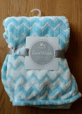 ADIRONDACK Baby Blanket Soft Blue White Infant Lovey Toddlers Boys Triangles NEW