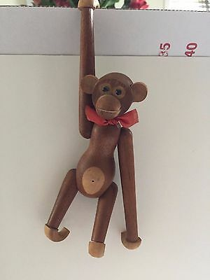 Vintage Wooden Jointed Modern Hanging Monkey with Bow