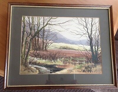 E. Grieg Hall - Original Watercolour Signed Mounted & Framed Landscape Picture