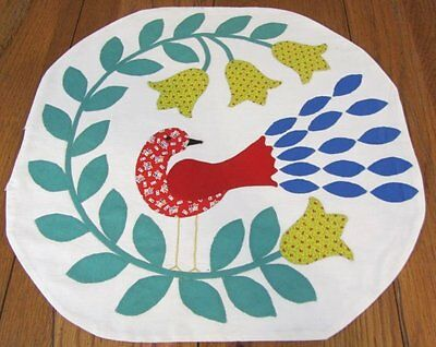Folk Art! c 1930s PA Dutch Tulips BIRD Table Vintage Quilt Applique