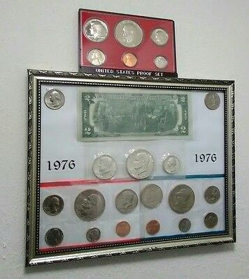 1976 tribute, silver coins and 1976 $2 bill Uncirculated -with proof set