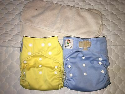 Kawaii Cloth Diapers Pocket Diapers Yellow Blue One Size