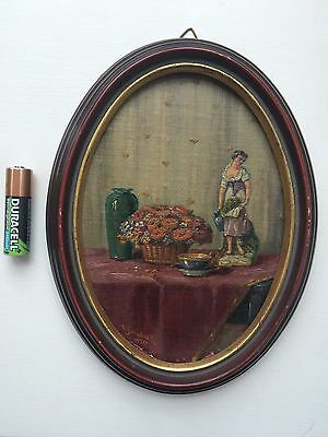 Vintage Miniature Oil Painting Still Life Signed W. Schiebeck 1920