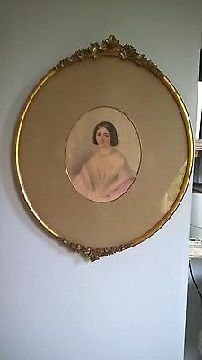 Antique Victorian  Watercolour  Portrait Of A Lady In The Original Frame