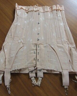 Ladies Early 1900's Peach-Pink Damask Fancy Corset, Comfort Wire Boning