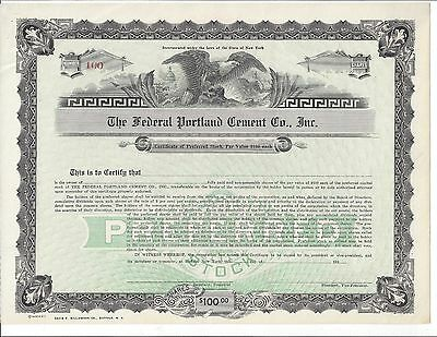 The Federal Portland Cement Co. Inc.(Buffalo,ny)....1930's Unissued Stock