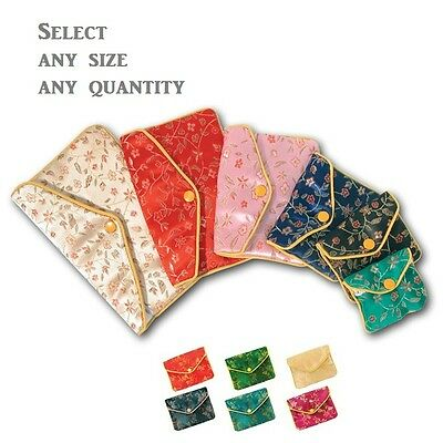 LOT OF 12~84~144 Pcs CHINE POUCHES JEWELRY POUCH WHOLESALE BAGS SILK GIFT BAGS