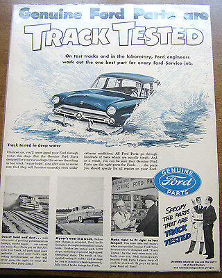 Vintage 1950s Ford Collectable Car Parts Ad Original Magazine Paper Ad Mancave