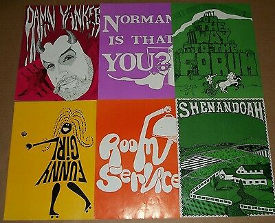 1976 Lot of 6 KENLEY PLAYERS Broadway OHIO Programs FUNNY GIRL Room Service