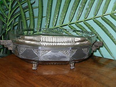 French Art deco 1920s/1930s  stepped metal  serving dish with  glass liner