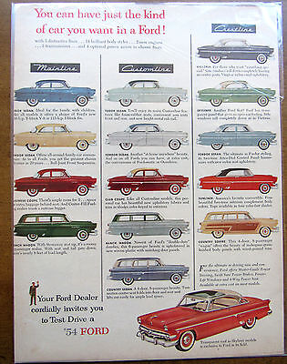 Vintage 1954 Ford Mainline Collector Car Ad Original Magazine Paper Ad Mancave