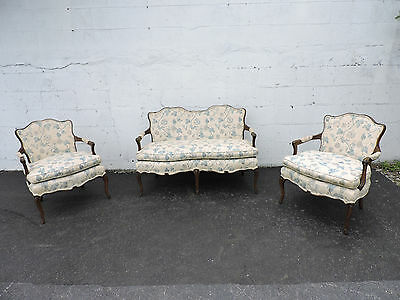 Set of French Hand Carved Small Love Seat Settee and Pair of Chairs  8398