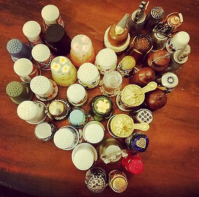 43 Piece Lot Vintage Decorative Collectible Thimbles Wedgwood Franklin Mint ETC