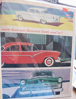 Vintage 1955 Ford Sedan Lg Double Page Collector Car Ad Original Magazine