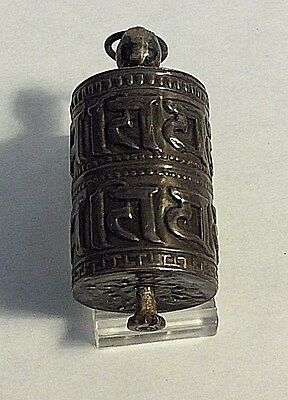 Antique Chinese Export  Silver Charm Pendant Prayer Wheel