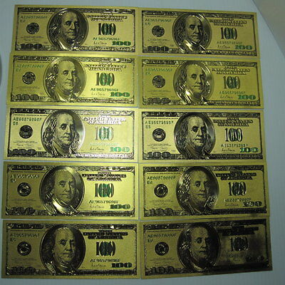 GOLD US $100 Bill's (10) Old 1976 Style 24 Kt Gold Foil Fun HOT Gift! FREE SHIP!
