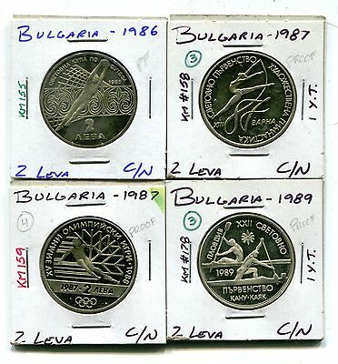 Bulgaria : Lot of 4 different Proof 2 Leva coins 1986 - 1989