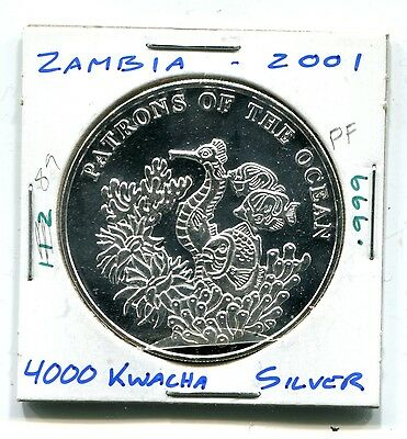 Zambia : Silver 4000 Kwacha 2001 Proof  (KM 112) - Sea Horse and Fish