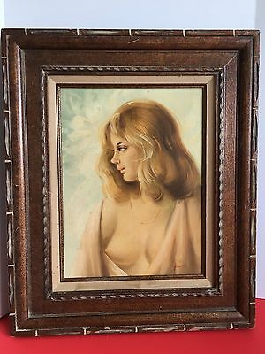 Original Oil Painting Of Nude Woman Portrait Signed