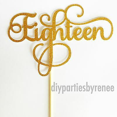 Eighteen Cake Topper - Assorted Colours - happy 18th - 18 Cake Topper