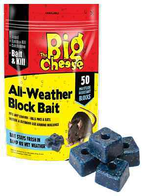 The Big Cheese All-Weather Block Bait 50 Pack All Weather Block Rat Killer