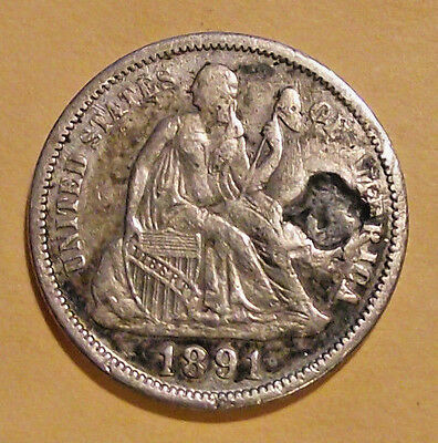 1891 Liberty Seated Dime (LOT Y212) **AU - Plugged**