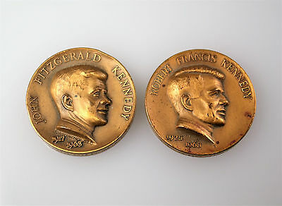 #7115 - Metal Arts Co - 1963 John &1968 Robert F Kennedy - Brass Memorial Medals