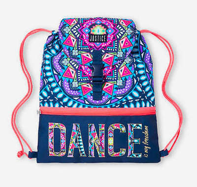 NWT Justice girls DANCE drawstring cinch tote bag backpack athletics NEW