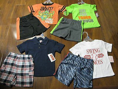 8 Pc Lot Spring Summer Boys Size 2T Toddler Clothes Lot Shorts, Shirts Set NWT