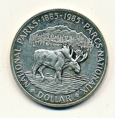 1985 Canada Proof Silver Dollar National Parks Moose