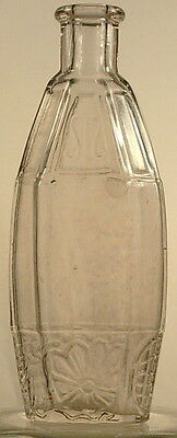 Circa 1900 Clear Glass Perfume Bottle With Pattern Nice Shape