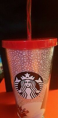 Starbucks 2016 Holiday Red Fox Cold Cup Acrylic Tumbler