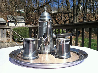 Vintage Josten's Pewter Chocolate Pot Set with Tray~Wooden Side Handle~England