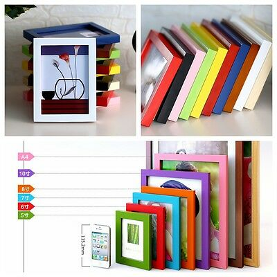 "Picture Photo Box Wall Frame A4/5""/6""/7""/8""/10"" Multi-size Decor Wooden Room Hot"