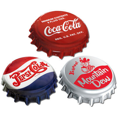 Soda Bottle Cap Look Metal Sign Set Coke Pepsi Mountain Dew Reproduction Bundle