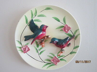Vintage 3D Ceramic Blue Birds & Flowers Wall Plate Japan