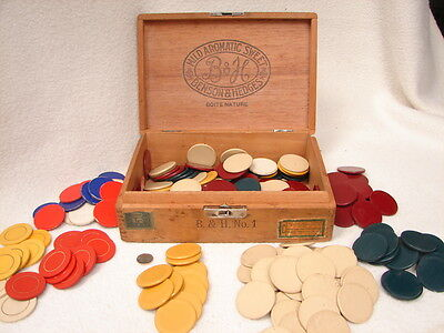 Rare Assortment of Vintage Antique (Mostly Clay) Poker Chips & VT Wood Cigar Box