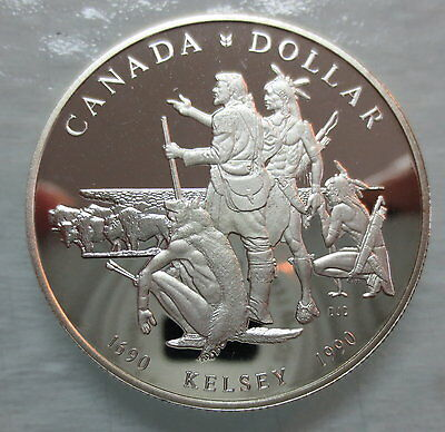 1990 Canada Proof Henry Kelsey Tricentennial Silver Dollar Coin - A