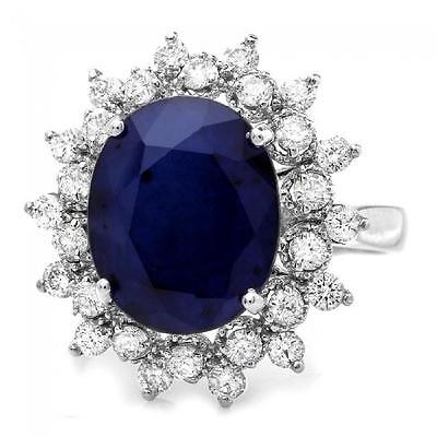 7.85Ct Natural Blue Sapphire & Diamond 14K White Solid Gold Ring