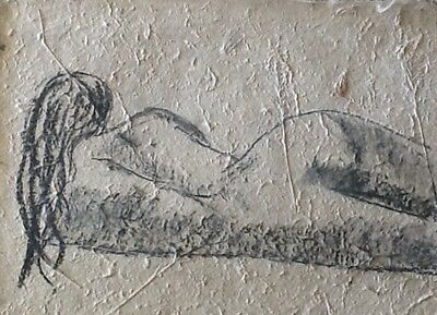 """""""landscape Or Portrait"""" Nude Charcoal Drawing On Handmade Paper"""
