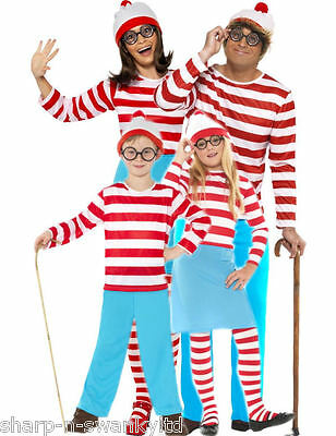 Family Mens Ladies Boys Girls Where's Wally Book Day Fancy Dress Costume Outfit