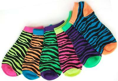 Ladies Lot 6 Pairs Pack Ankle Socks Low Cut No Show Zebra Stripes Neon colors