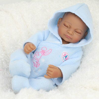"10"" African American Boy Doll Full Vinyl Silicone Anatomically Correct Baby Doll"