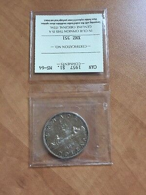 Great Looking Toning 1957 Canada Silver 1$ Dollar Coin ICCS MS-64