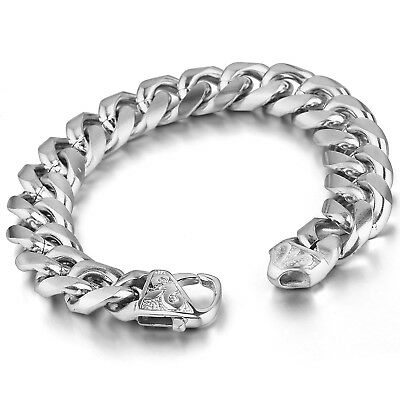 MENDINO Men's Stainless Steel Bracelet Curb Chain Fleur de Lis Clasp Crucible